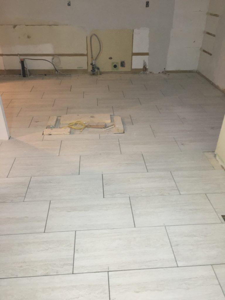 Newly laid tile flooring.