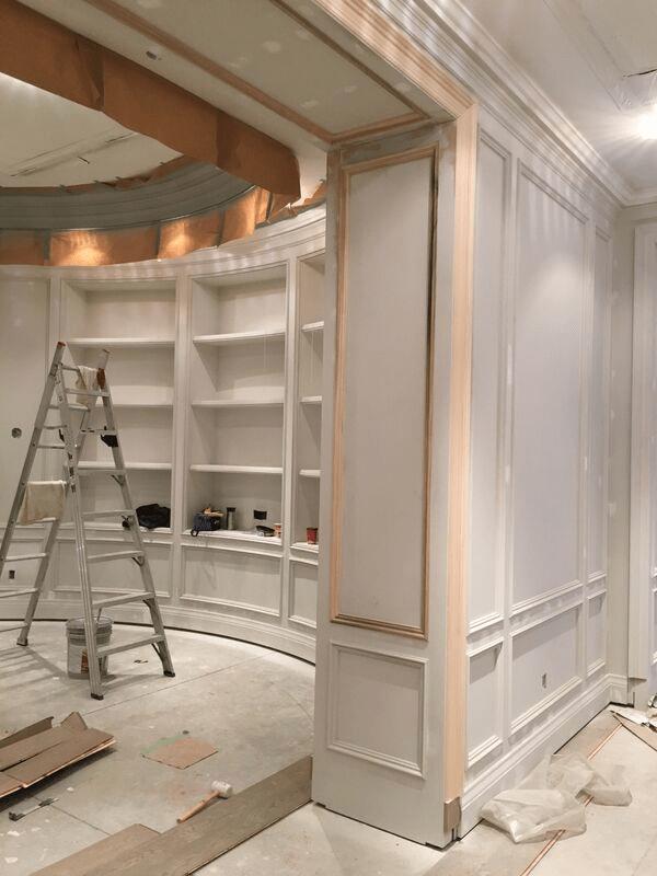 Freshly painted white paneling.