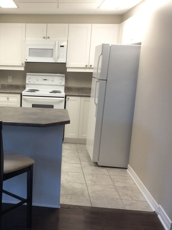 White kitchen cabinets and walls in a newly finished kitchen.