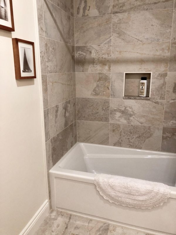 Textured tile work in a shower.